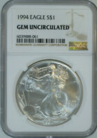 1994 American Silver Eagle Dollar $1 / .999 Pure / Certified NGC GEM BU 🇺🇸