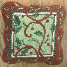 """Holiday Christmas Needlepoint Throw Pillow 10"""" Holly Green Red Zip Wool"""