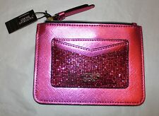 Victoria's Secret Fuchsia Pink Sparkle Zip Card Case Wallet