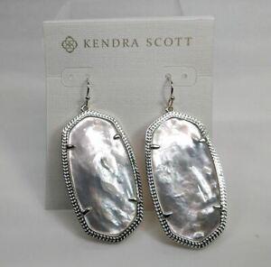 New Kendra Scott Danielle Statement Earrings in Ivory Shell / Silver