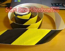 """Yellow Black Reflective Warning Safety Conspicuity Tape Film Stickers 2""""x10' 3M"""