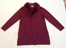 NEW***ALTERNA*** Plum Cardigan W/ Fox Fur Detachable Collar***Medium****$889