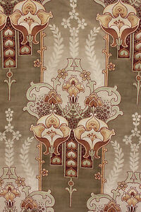 Antique Fabric Art Nouveau Design Printed Cotton French With Green Tones