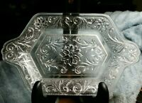 Vintage PRESSED CLEAR GLASS RECTANGULAR TRAY FOR FOOD, TRINKETS