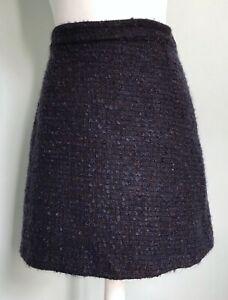 BRORA Navy Blue Espresso Brown Wool Mohair Tweed Skirt UK 12 Textured A-Line