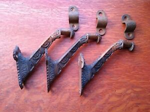 Three Antique Fancy Victorian Cast Bronze Stair Rail Brackets c1885