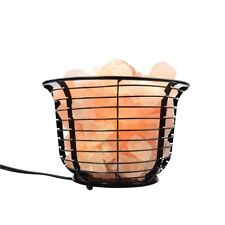 Natural Himalayan Round Style Basket Lamp w/ Carved Salt Chunks Bulb & Dimmer