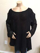Women's Lane Collection Black Fish Net Cold Shoulder Cutout Sweater Plus Size 2X