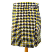 NEW £90 Boden Size 12 Blue Yellow Dogtooth Straight Tweed Wool Skirt Winter BNWT