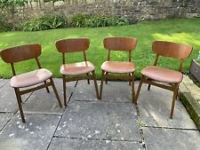 More details for vintage set of four mid century dining chairs