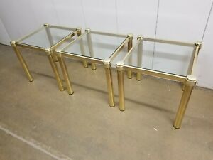 VTG MCM mid century modern Plant Stand Side Accent Table Brass Glass Top Square