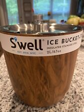 New listing S'well ice bucket + tongs Teakwood Stainless