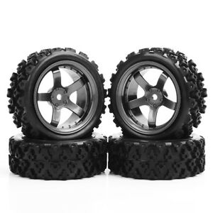 4Pcs 12mm Hex Rubber Tires Wheel Rims Set For 1/10 RC Rally Racing Off Road Car