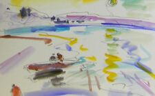JOSE TRUJILLO ORIGINAL Watercolor Painting EXPRESSIONISM LAKE BOATS FISHING SKY
