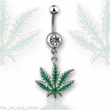 1pc Pot Leaf Gem Belly Ring Marijuana Navel Naval (w6)