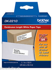 "Brother DK2210 1-1/7"" Continuous Paper Tape for QL550, QL-550 label printers"