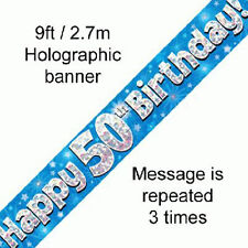 male happy 50th birthday party foil banner 50 today decoration blue banners
