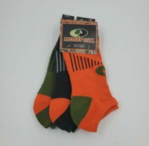 3 Pair Mossy Oak Low Cut Socks, Adult Shoe Size 6-12, Hunting, Orange, L10 MP