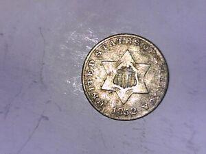 U S 1852 Three cent Silver Very GOOD