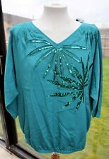 M&S Limited Collection Green Blouson Top with Sequin Design - Size 12 - New