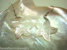 26mm Engraved White Mother of Pearl Hawaiian Starfish 316L Dangle Hook Earrings