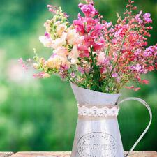 Vintage Shabby Cream Vase Enamel Pitcher Jug Tall Metal Home Decor Gifts IC1CX