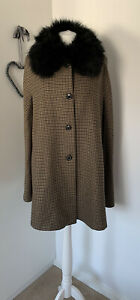 Zara Brown Black Hound Tooth Dogtooth Cape  Fur Collar Coat S 8 10 12 Bloggers