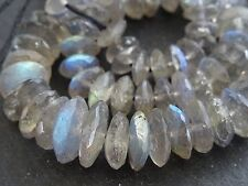 """HAND FACETED LABRADORITE rondelles, approx 7mm - 11mm, 16"""", 120 beads"""