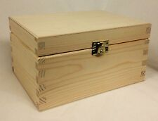 2 x  Pine wood box DD306 storage crafts parts keepsake treasure 19.5x14.5x11.4CM