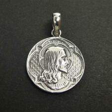Solid 925 Sterling Silver Double Sided Jesus Saint Virgin Portrait Coin Pendant
