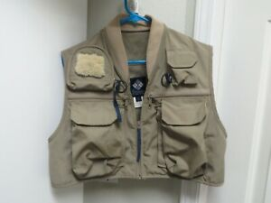 Vintage Columbia Fly Fishing Vest Mens Size Medium 80s Tan Khaki Sportswear