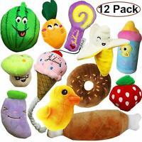 12X Pet Dog Soft Chew Toy Puppy Plush Sound Eggplant Carrot Squeaker Fun Toys