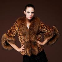 Leopard Damenmode Großer Faux-Pelzkragen Winterjacke Abend Winter Warm Party