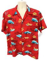 Hawaiian Aloha Shirt  Tiki L Diner Buick Fiat Pontiac Red Button Down Round Bay