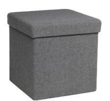 Grey Scandi Storage Ottoman Foot Rest Stool Pouf Lounger Modern Home Living Room