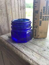 "Vintage Noxzema Blue Glass Tiny 1.5"" Medicinals Apothecary"