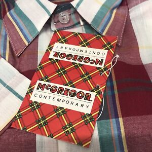 Vtg McGregor Contemporary Mens M Red Button Front GREEN~YELLOW~PLAID~NWT NOS
