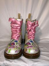 Rare Vintage Dr Martens White Floral Boots Women's Size 8 US Made In Thailand