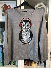 QQ14 George Plus Sz 24 Grey Fine Knit Sequin Penguin Xmas Jumper