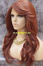"28"" Long Wavy Layered Auburn Full Lace Front Wig Heat Ok Hair Part Hair piece"