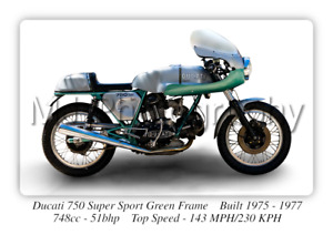 Ducati 750 Green Frame Super Sport - A3 Size Print Poster on Photographic Paper