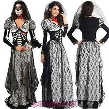 Disfraz Vestido Carnaval Mujer Esqueleto Novia Cadáver Disfraz DL-1606