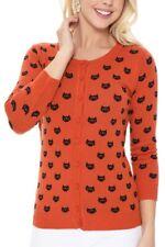 YEMAK Women's Cute Cat Pattern 3/4-Sleeve Button-Down Cardigan Sweater MK3466