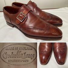 CROCKETT & JONES Chadwick Brown Leather Wingtip Monk Strap Shoes US Size 9/UK 8E