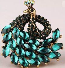 Amazing Teal and Black Rhinestone & Gold Tone Fashion Peacock Stretch Ring Nwot