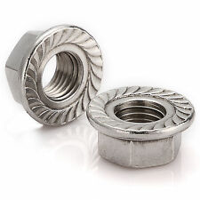 A2 Stainless Steel Metric Flange Nuts M3/M4/M5/M6/M8/M10/M12/M14/M16 QTY Choose