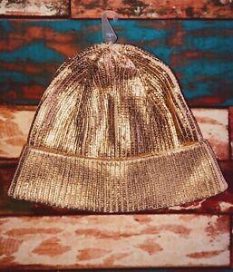 Gymboree Girls Beanie Hat XS S 4-6 Metallic Rose Gold New