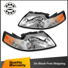 Pair Chrome Headlights For 99-04 Ford Mustang W/ Amber Corner Turn Signal Lamp