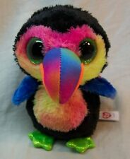 "TY Beanie Boos BIG EYED BEAKS COLORFUL TOUCAN 5"" Plush STUFFED ANIMAL Toy NEW"