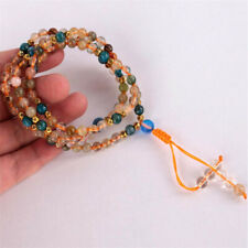 6MM 108 Hair Crystal Apatite Gemstone Knot Necklace Button Classic Mother's Day